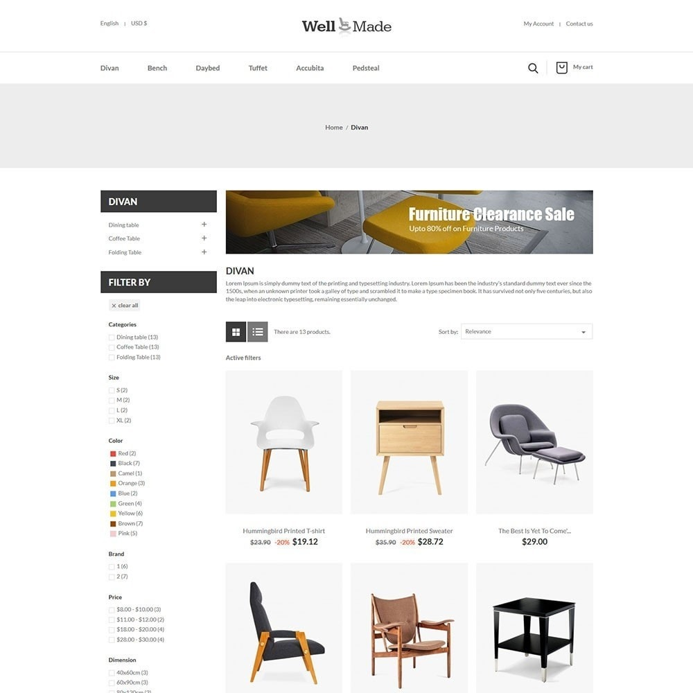 theme - Mode & Chaussures - Wellmade Light Furniture Store - 3