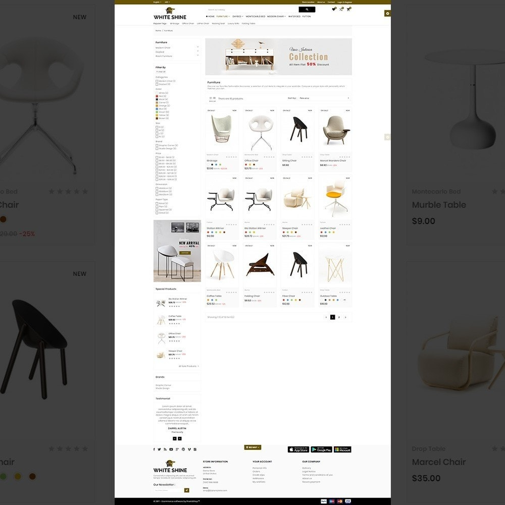 theme - Moda & Calçados - White Shine – Wood Furniture Mega Shop - 3