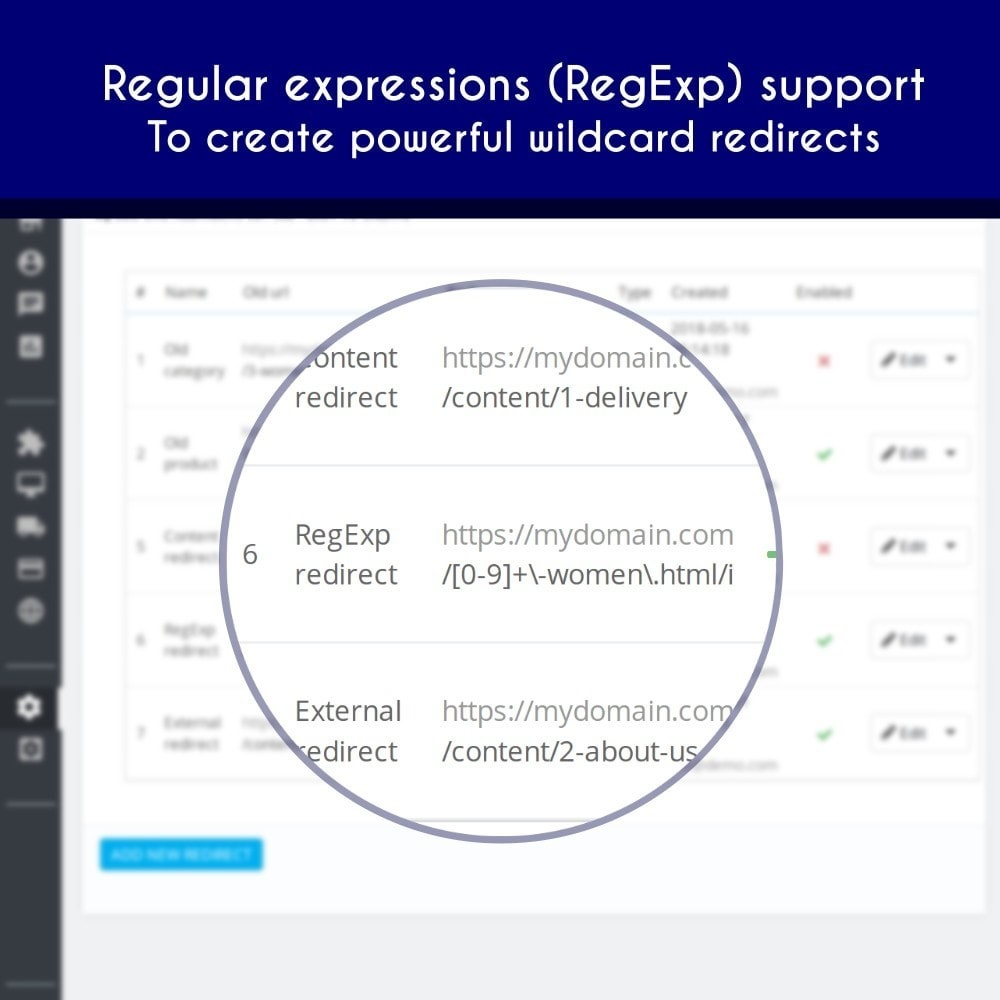 module - URL & Redirects - SEO URL Redirects 301 302 303 - Easy to create - 5