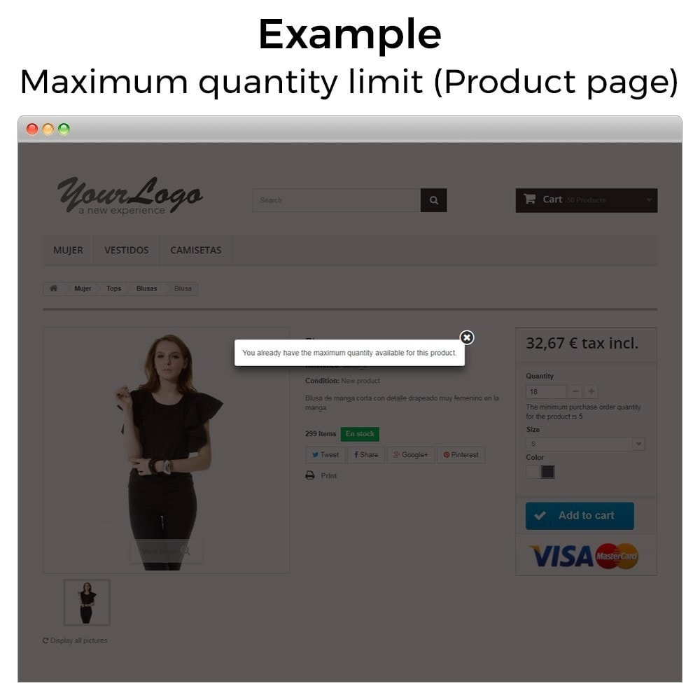 module - Inscripción y Proceso del pedido - Cantidad mínima y máxima de compra de producto - 11
