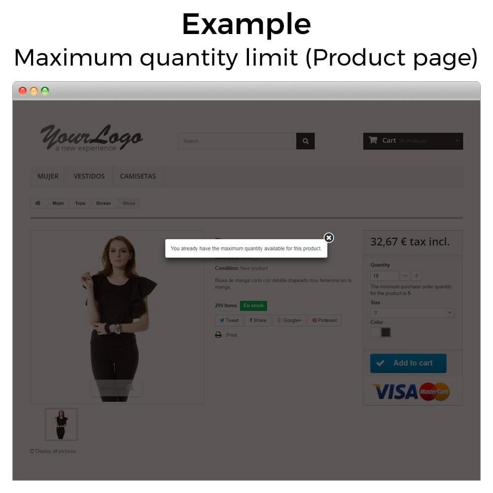 module - Inscripción y Proceso del pedido - Mínimos, máximos, múltiples y límites de importe - 11