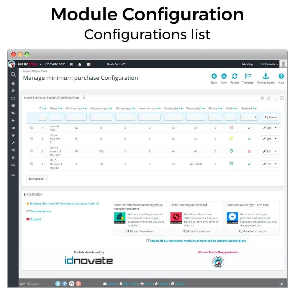 module - Inscripción y Proceso del pedido - Cantidad mínima y máxima de compra de producto - 10