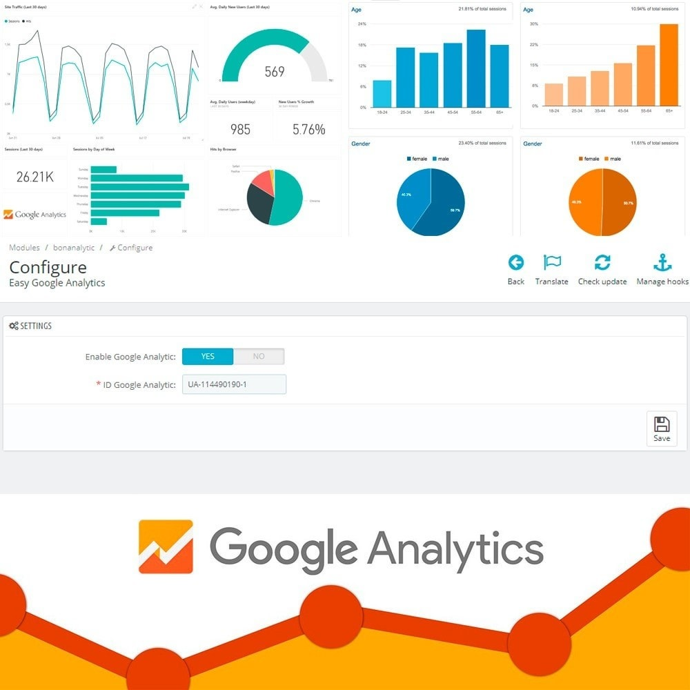 module - Analyses & Statistieken - Easy Google Analytics - 4