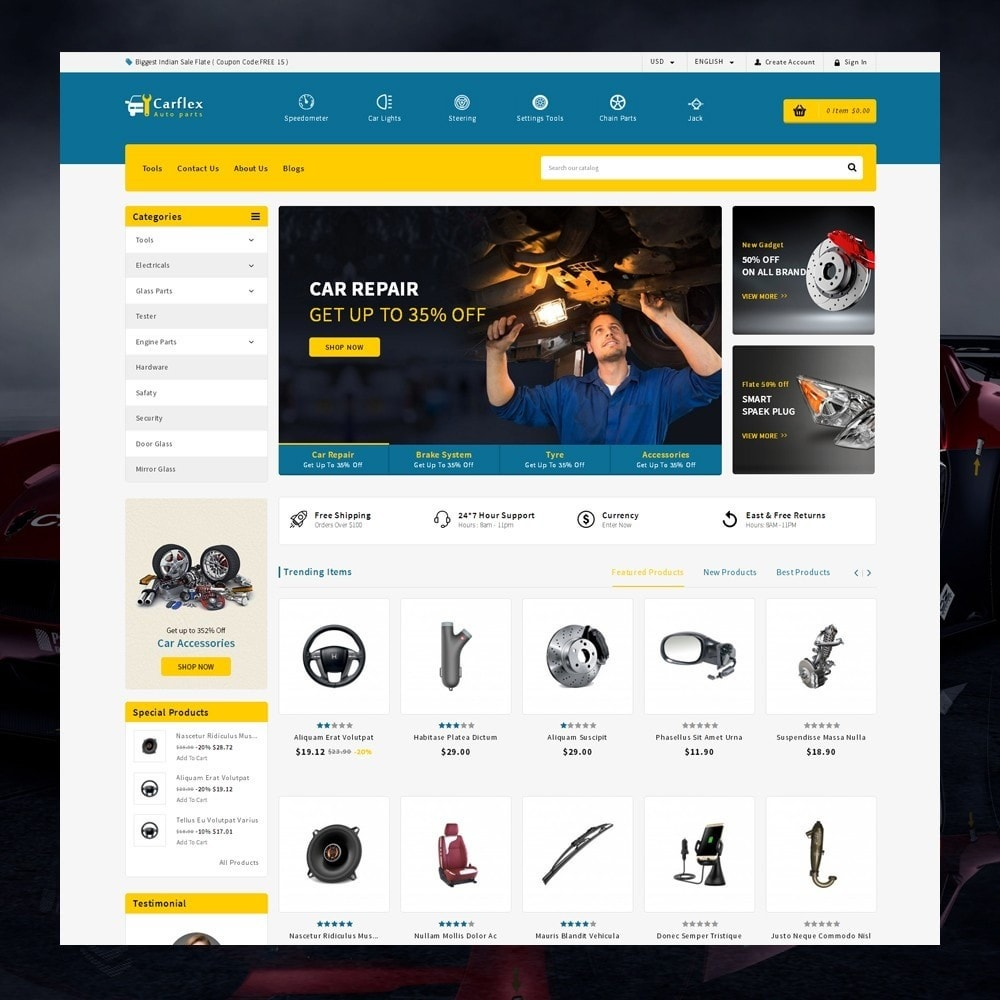 theme - Auto & Moto - CarFlex - The AutoParts Store - 1