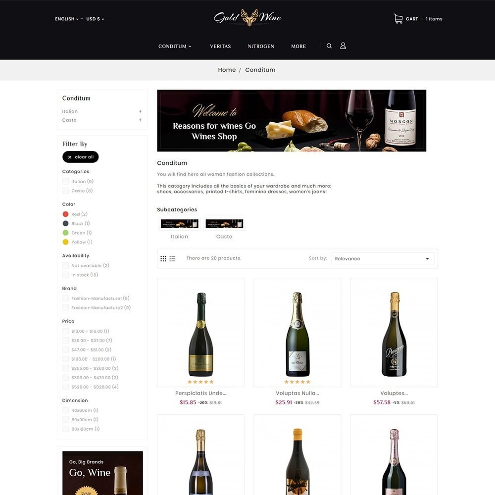 theme - Bebidas & Tabaco - Gold Wine & Beer - 3