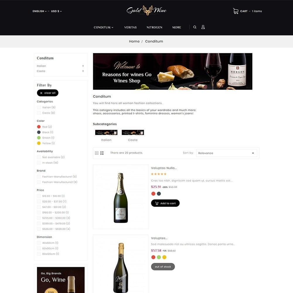 theme - Bebidas & Tabaco - Gold Wine & Beer - 4