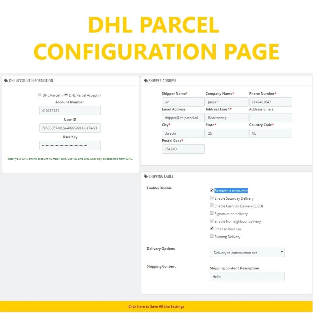 module - Подготовка и отправка - DHL Parcel Shipping with Print Label. - 2