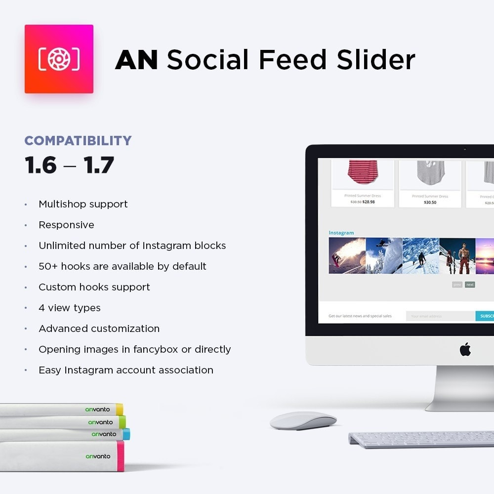 module - Слайдеров (карусельных) и галерей - AN Social Feed Slider - Instagram Widget - 1