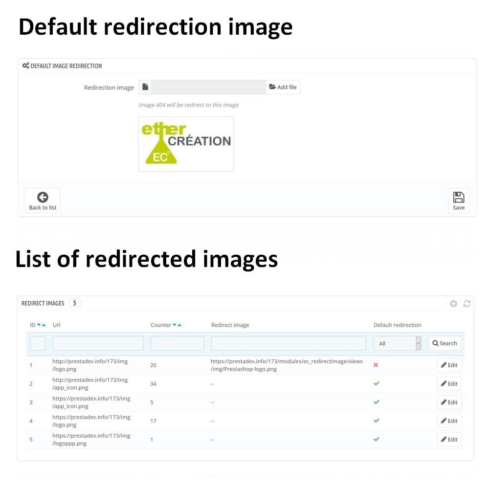 module - URL & Przekierowania - Automatic redirection of all your images 404 - 1