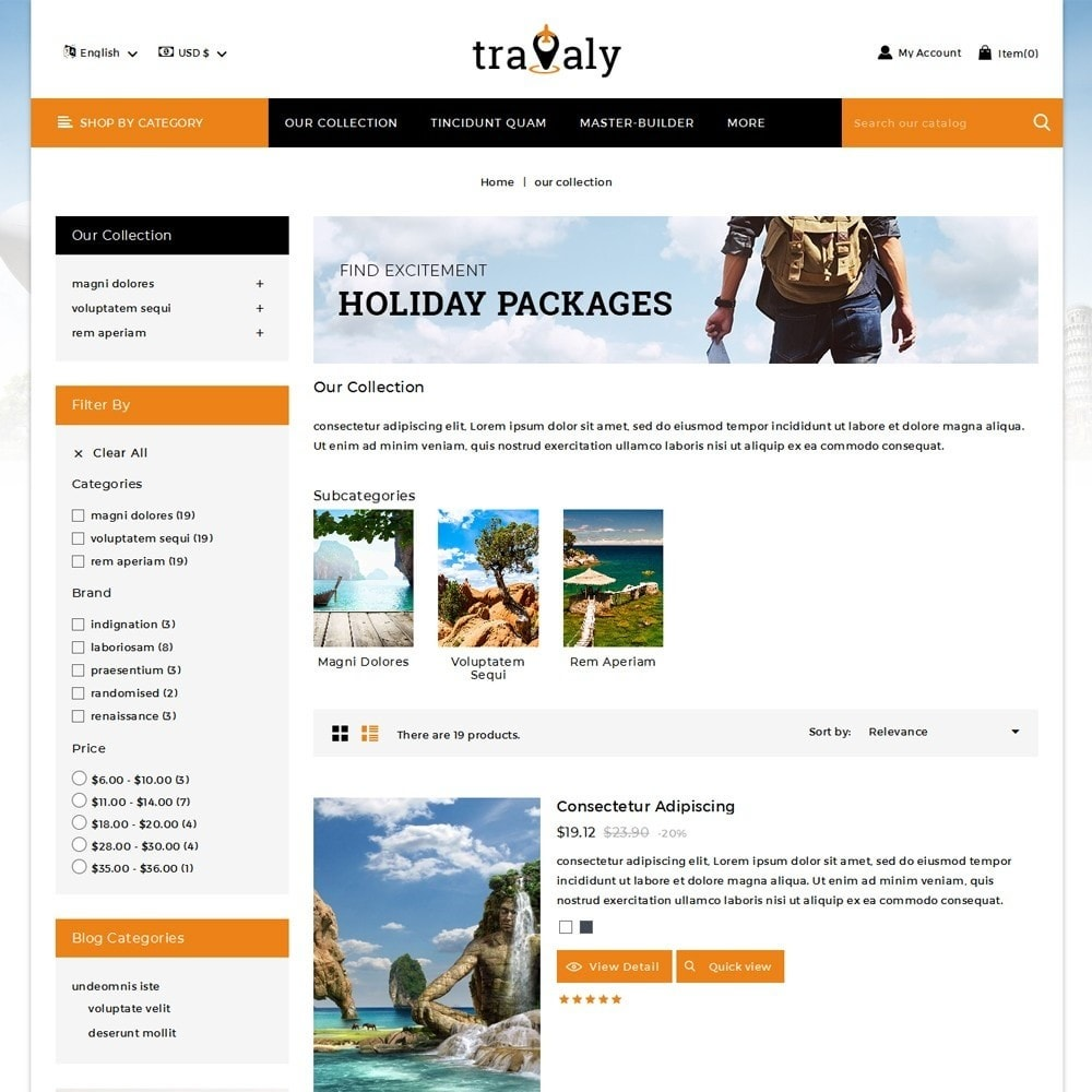 theme - Sport, Loisirs & Voyage - Travaly  -The Tourism Store - 5
