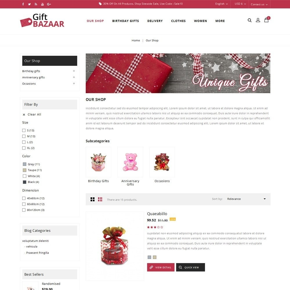 theme - Regalos, Flores y Celebraciones - Gift Bazaar - The Gift Shop - 5
