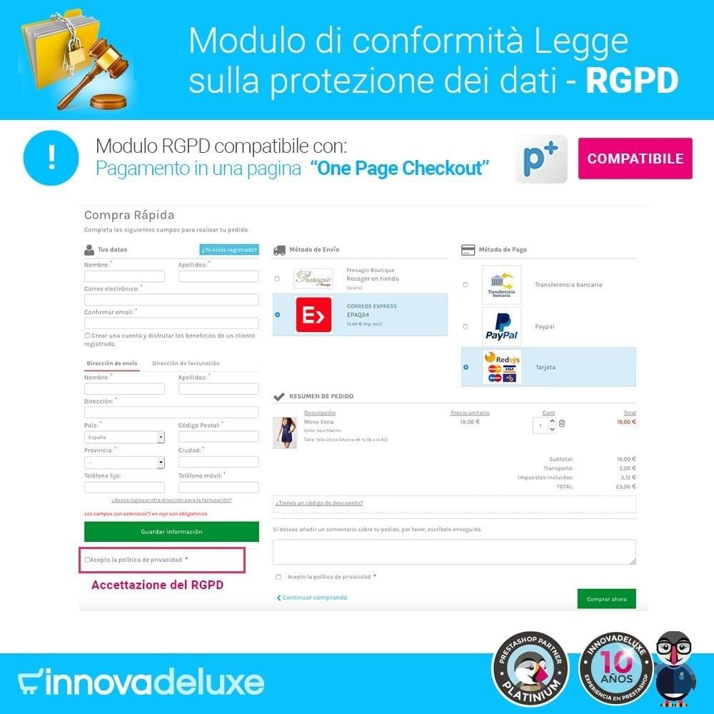 module - Legale (Legge Europea) - Codice in materia di Protezione dei Dati Personali RGPD - 17