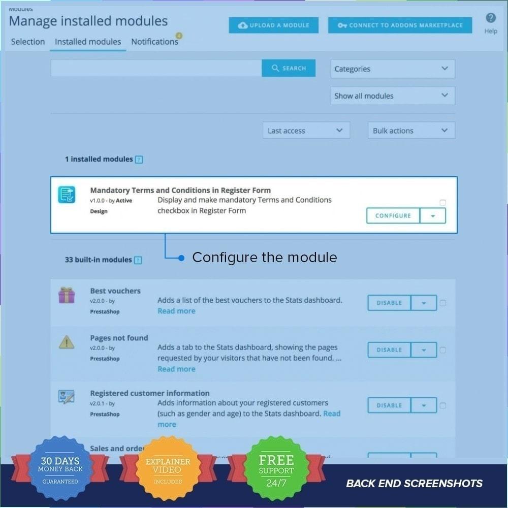 module - Inscription & Processus de commande - Termes et conditions obligatoires - 1