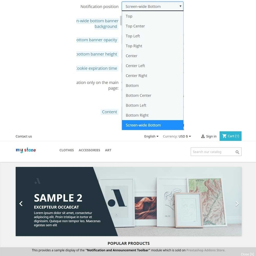 module - Blocchi, Schede & Banner - Announcement, Counter and Notification Bar - 2