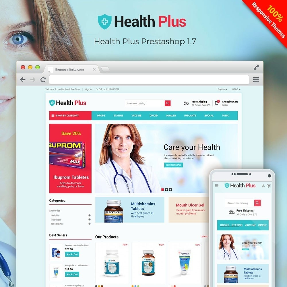 theme - Health & Beauty - Healthplus - Medicine Online Store - 1