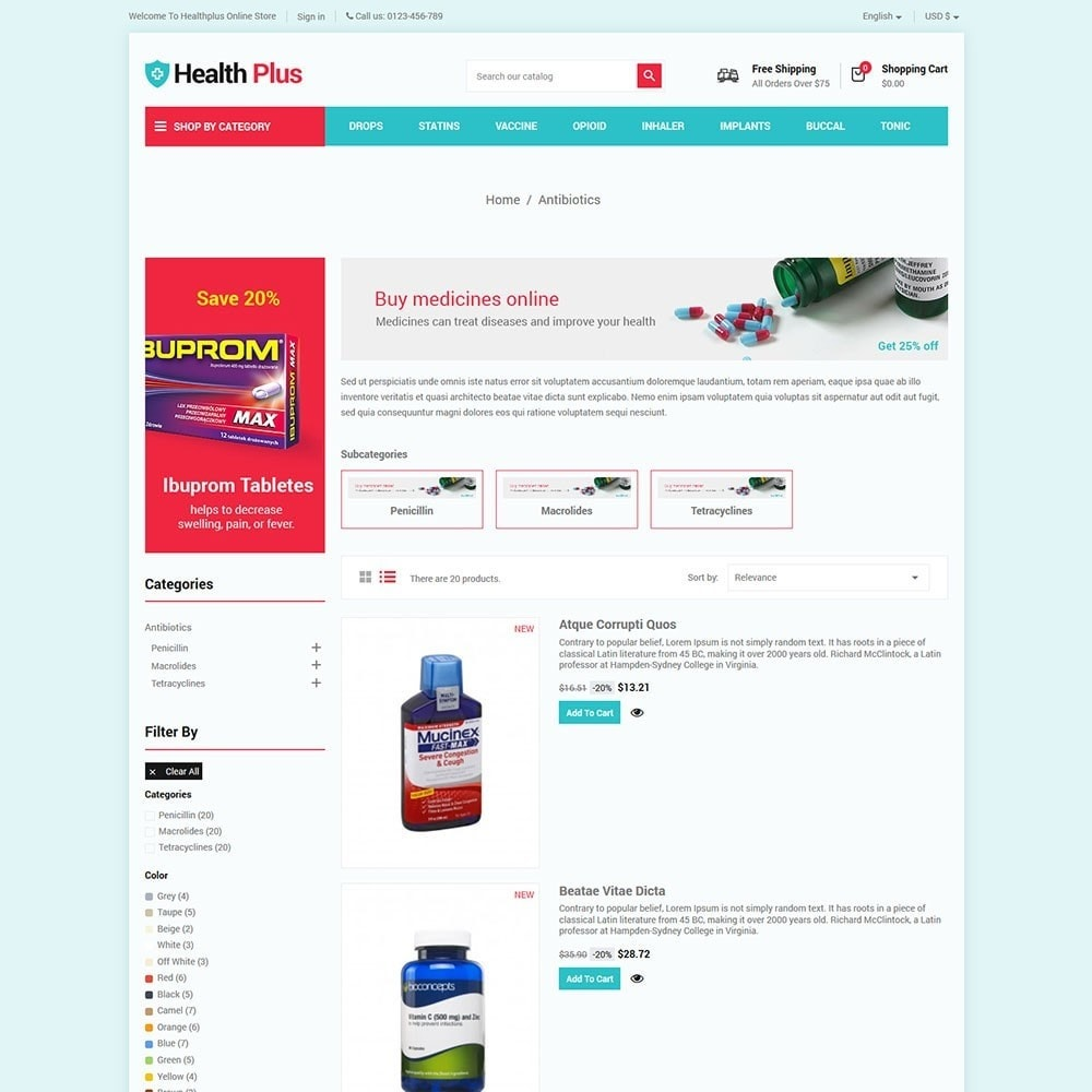 theme - Health & Beauty - Healthplus - Medicine Online Store - 4