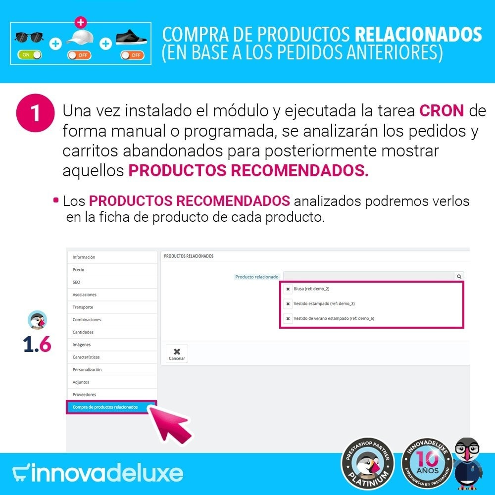 module - Ventas cruzadas y Packs de productos - Compra productos relacionados según pedidos anteriores - 3
