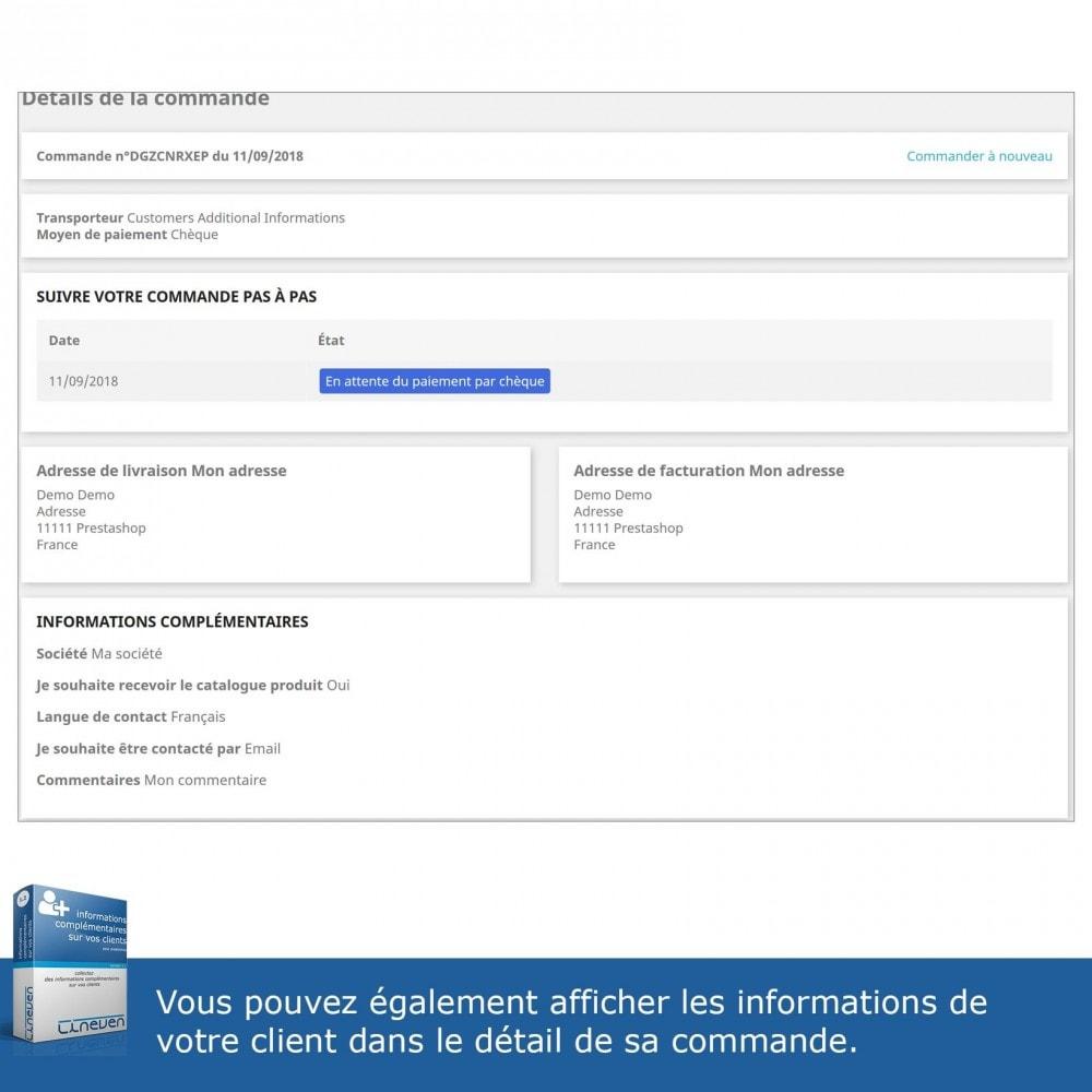 module - Inscription & Processus de commande - Informations Complémentaires sur vos Clients - 6