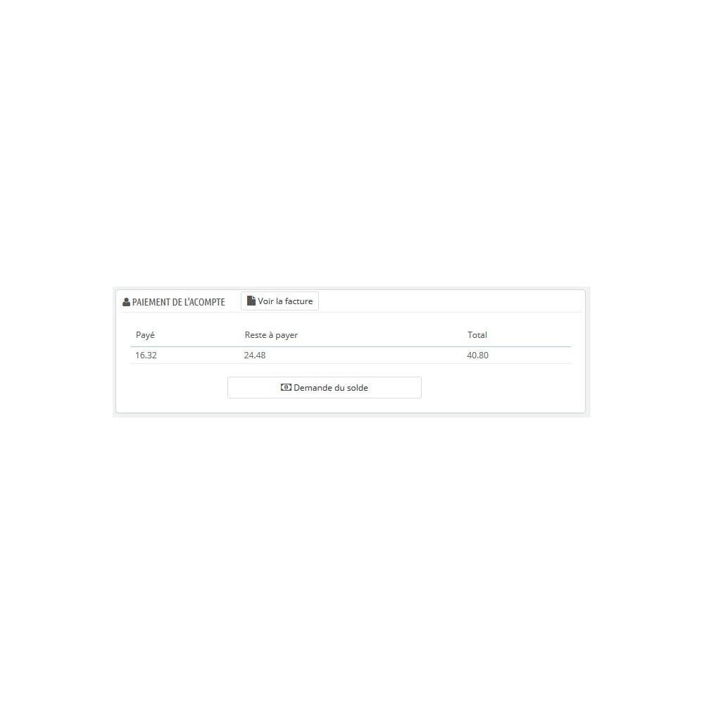 module - Autres moyens de paiement - Module d'acompte avec facture d'acompte - 6