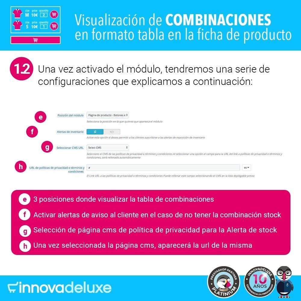 module - Combinaciones y Personalización de productos - Tabla de combinaciones en ficha de productos - 3