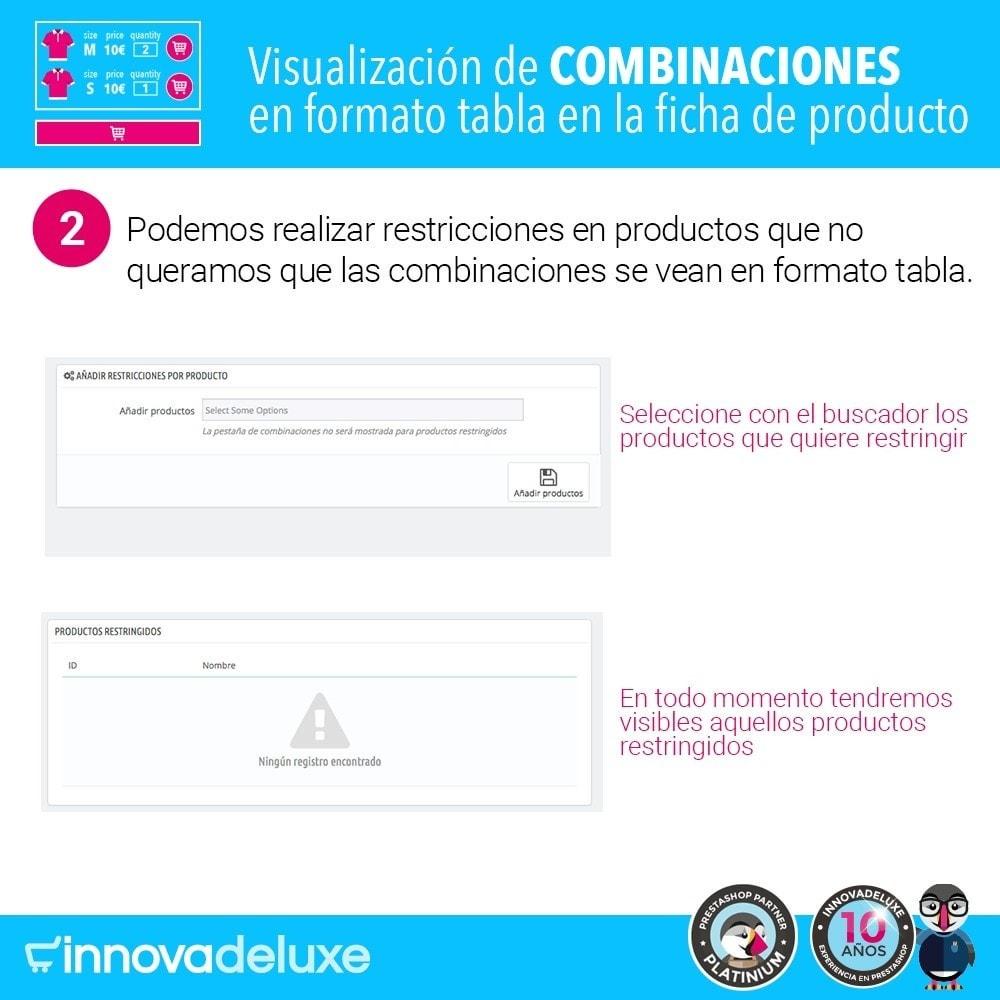 module - Combinaciones y Personalización de productos - Tabla de combinaciones en ficha de productos - 5