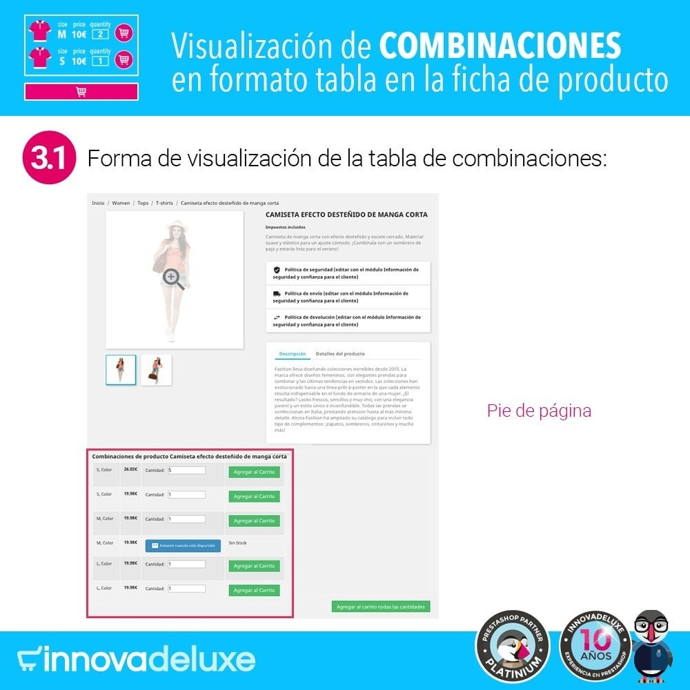 module - Combinaciones y Personalización de productos - Tabla de combinaciones en ficha de productos - 6