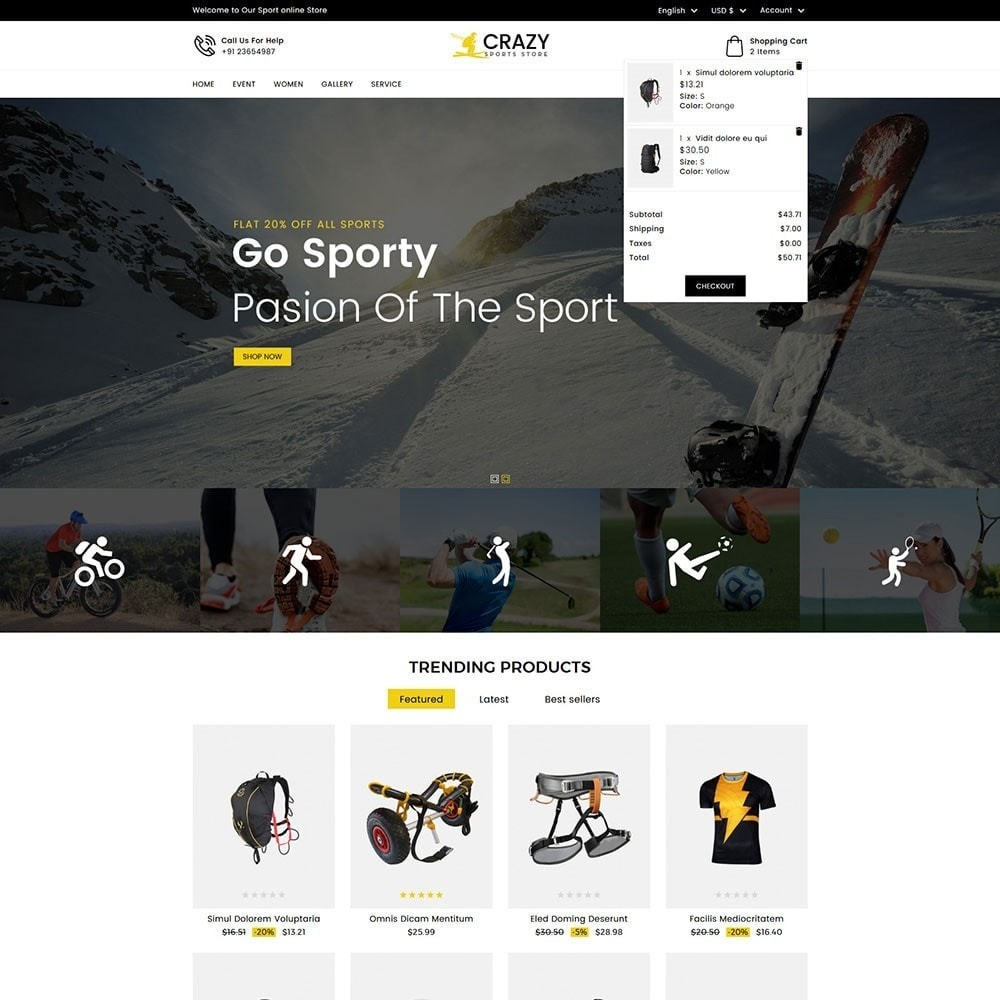 theme - Sports, Activities & Travel - Crazy Sports Store - 2