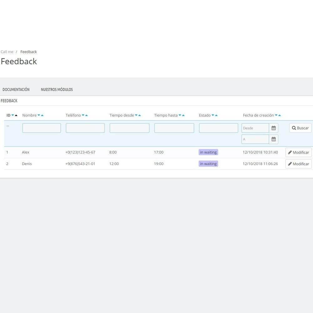 module - Asistencia & Chat online - Llámame - Módulo de devolución de llamada - 7