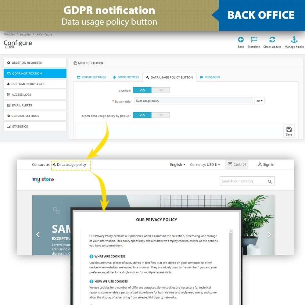 module - Legal - GDPR Compliance - EU Cookies Law Banner - 14