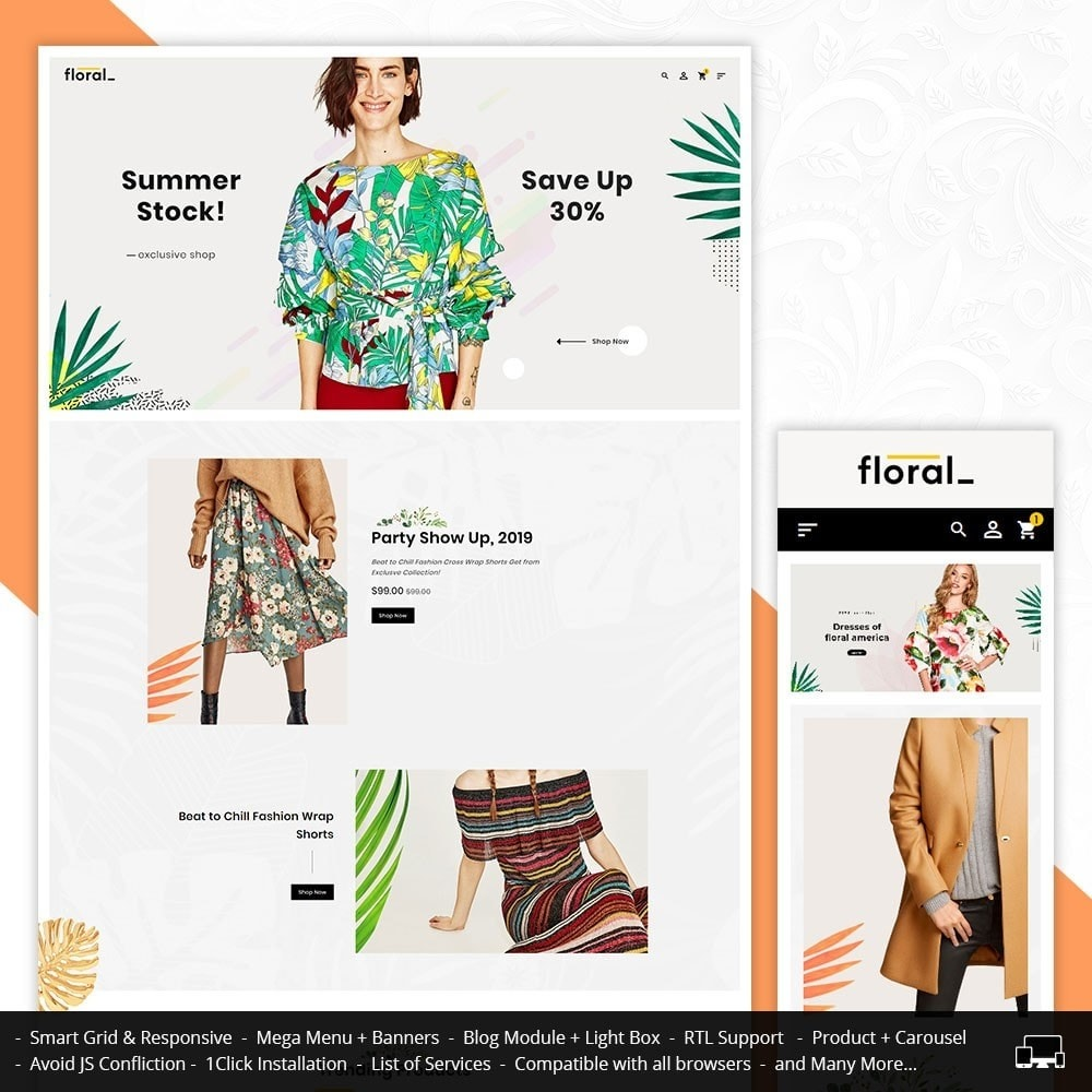 theme - Fashion & Shoes - Floral Fashion Apparels - 1