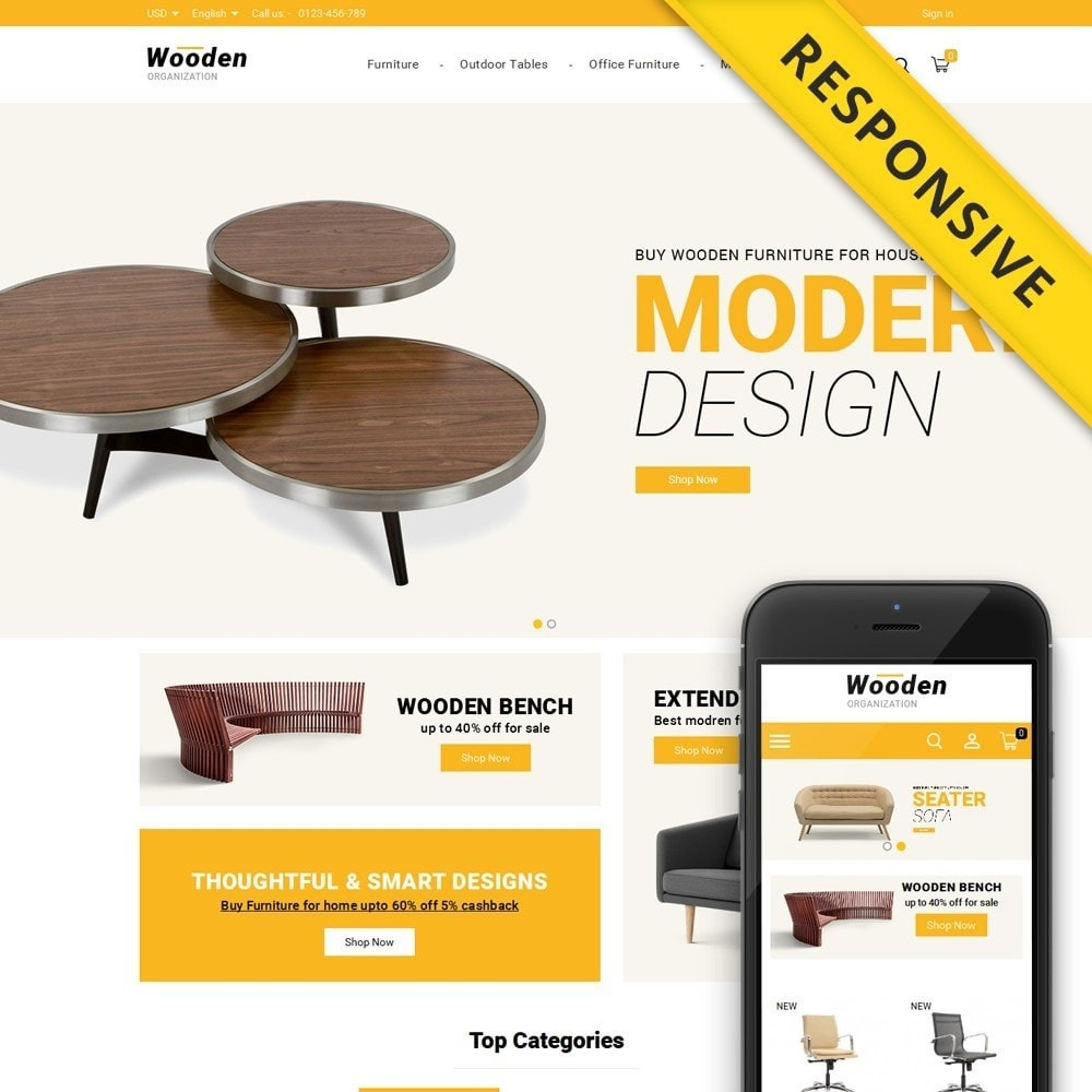 theme - Home & Garden - Wooden - Furniture Store - 1