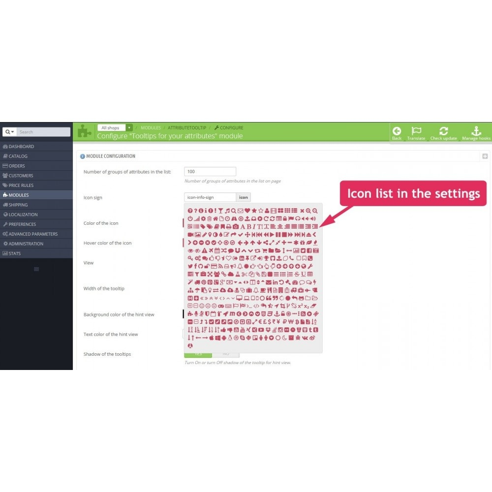 module - Combinaciones y Personalización de productos - Tooltips of attributes in product page - 2