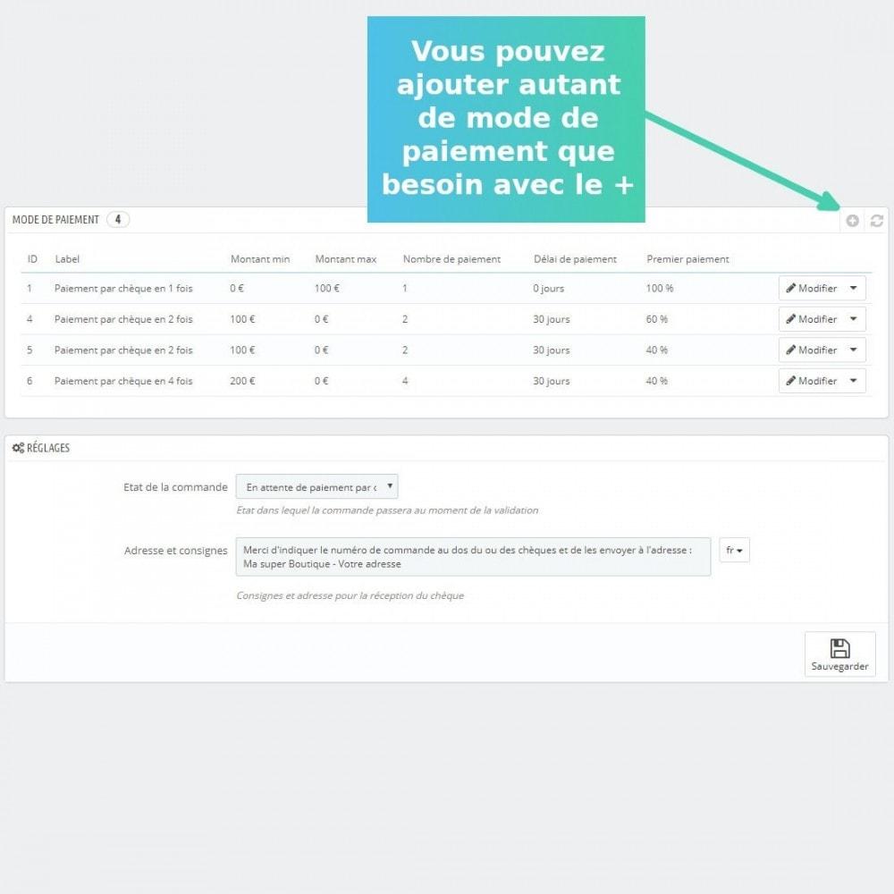 module - Autres moyens de paiement - Paiement multiple par chèque - 1