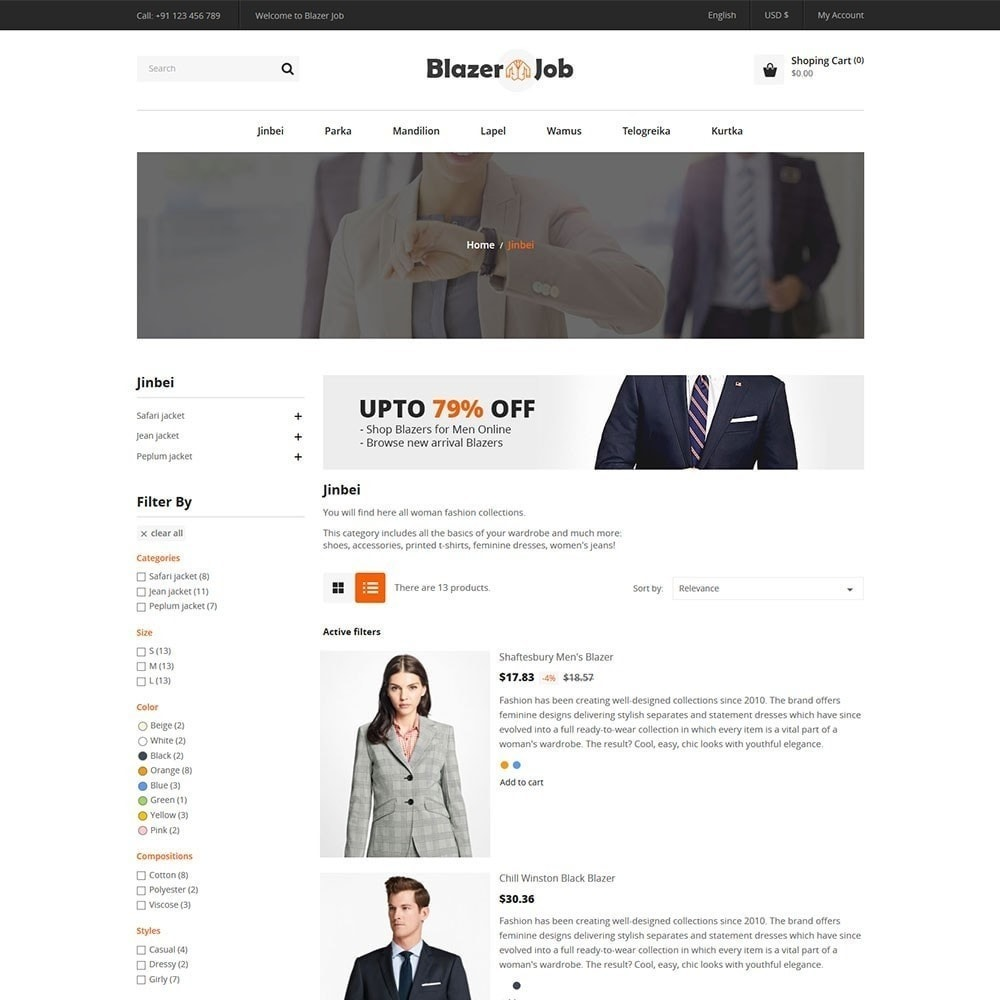 theme - Мода и обувь - Магазин одежды Blazerjob - 3