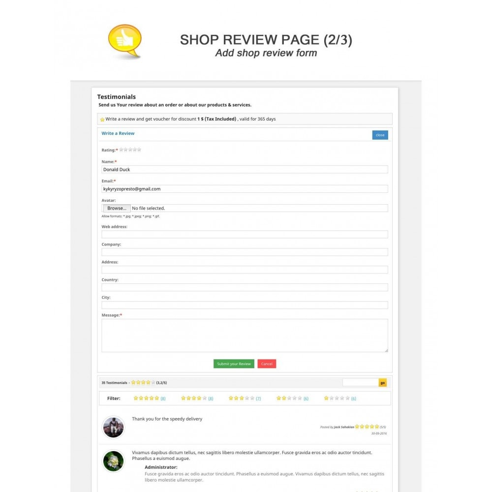 module - Comentarios de clientes - Shop Reviews + Avatars + Reminder + Rich Snippets - 2