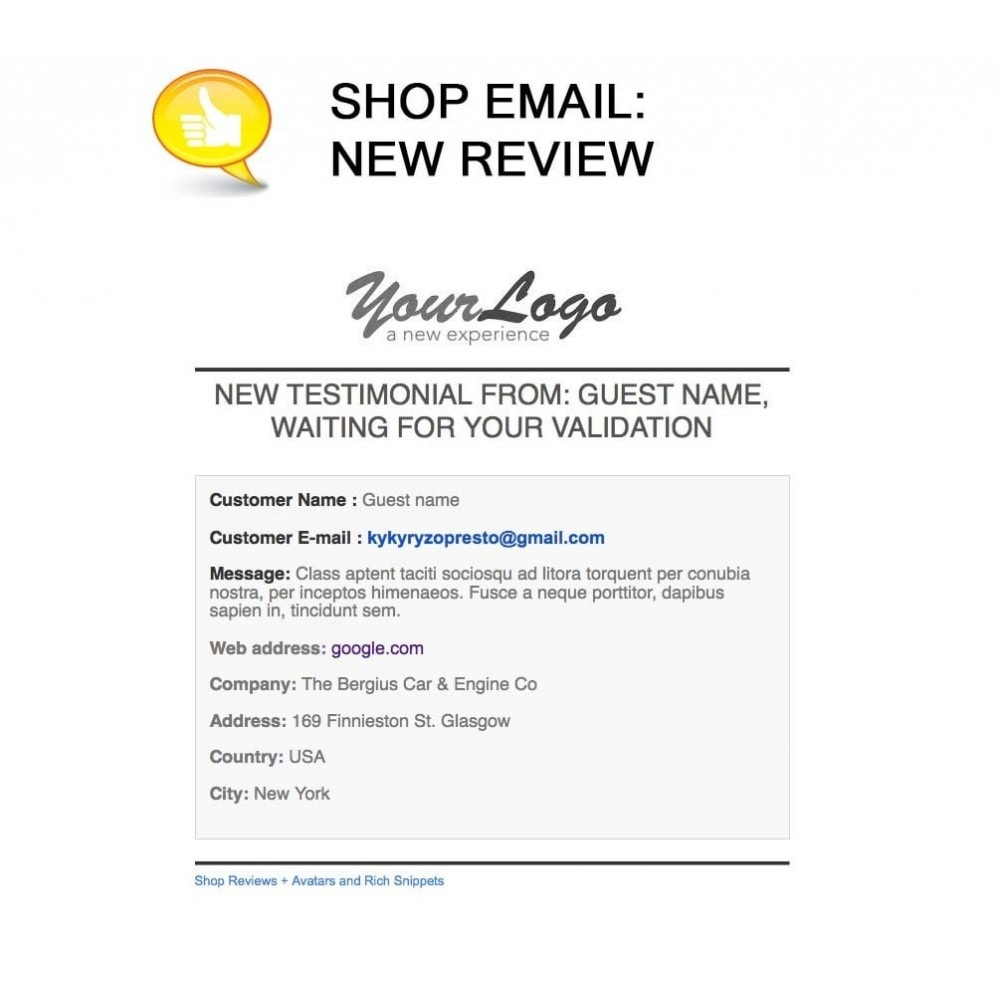 module - Customer Reviews - Shop Reviews + Avatars + Reminder + Rich Snippets - 23