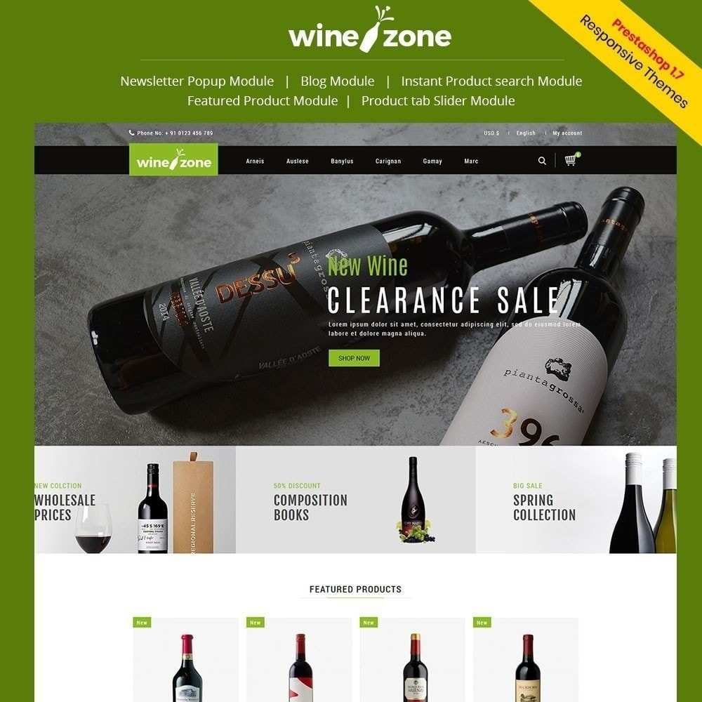 theme - Food & Restaurant - Winezone - Wine Store - 1