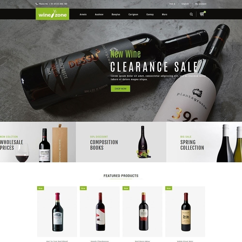 theme - Продовольствие и рестораны - Winezone - магазин вина - 2