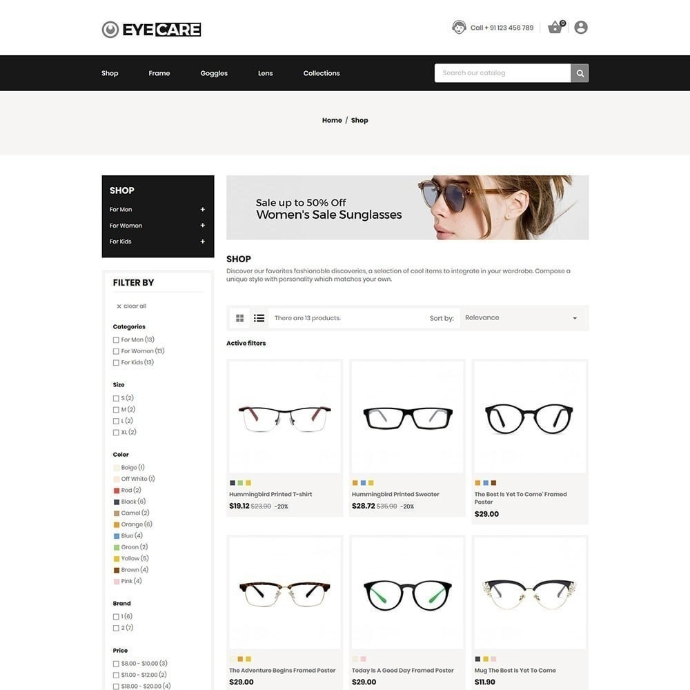 theme - Mode & Chaussures - Eyecare - Magasin de mode - 2