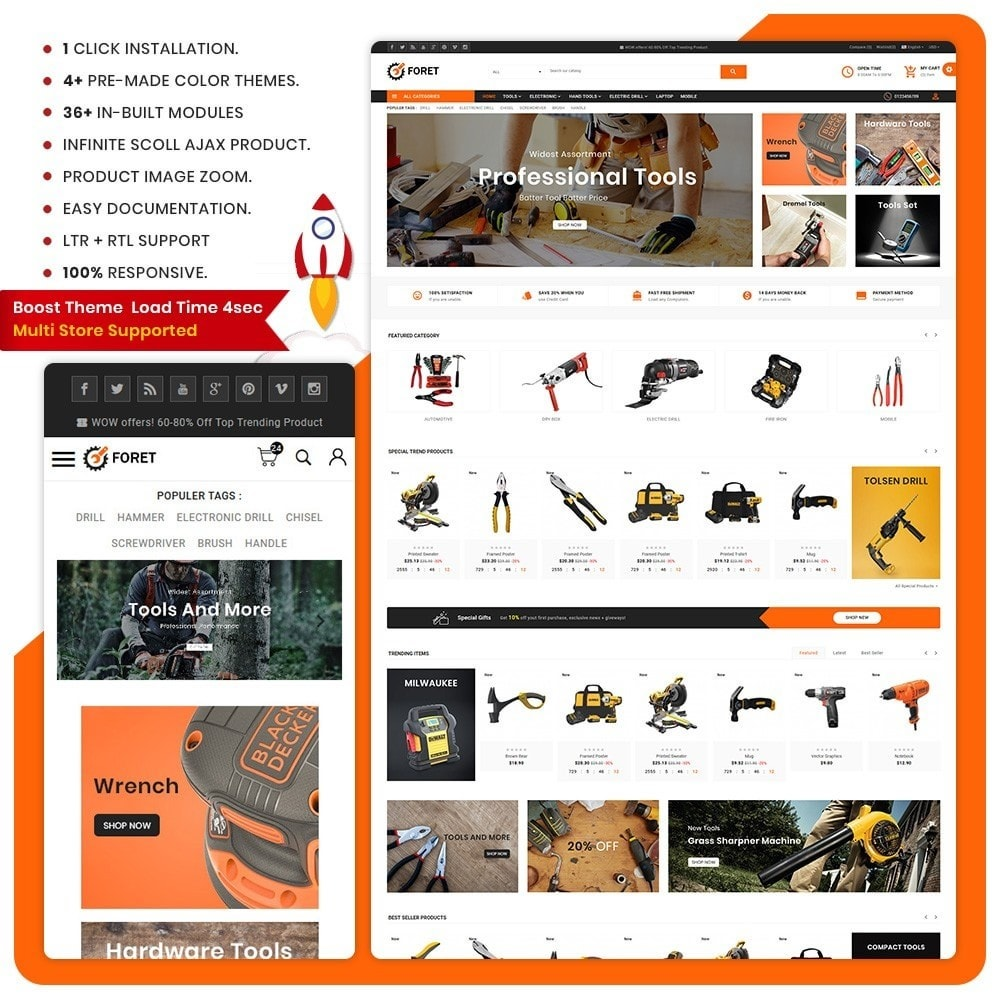 theme - Automotive & Cars - Foret Outils – Tools Big Shop - 1