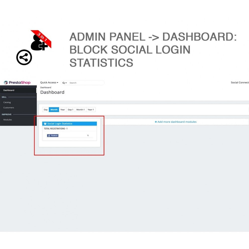 module - Login & Verbinden - Social Connect + Statistics, Like, Share 3 in 1 - 13