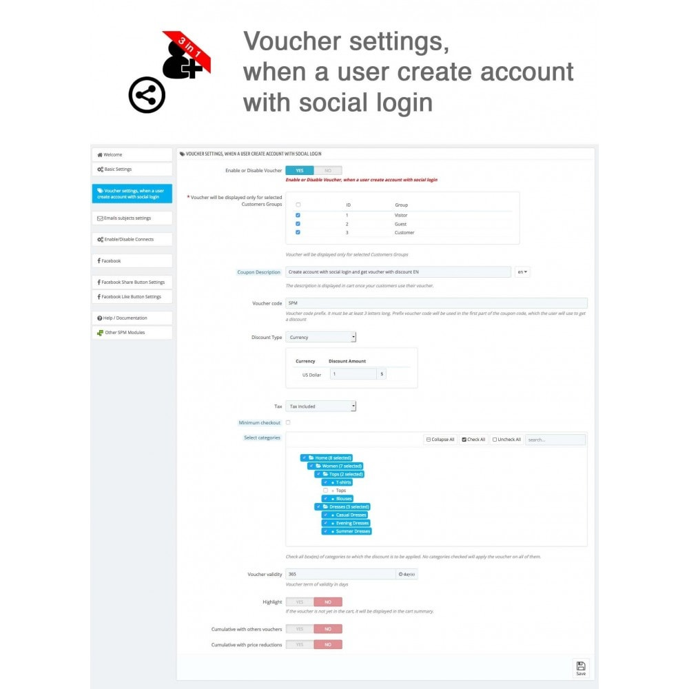 module - Login & Verbinden - Social Connect + Statistics, Like, Share 3 in 1 - 18
