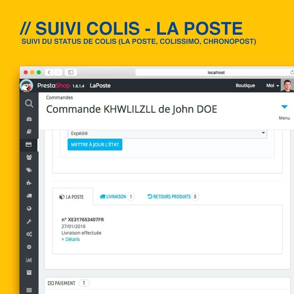 module - Suivi de livraison - Suivi La Poste, Colissimo & Chronopost - 3
