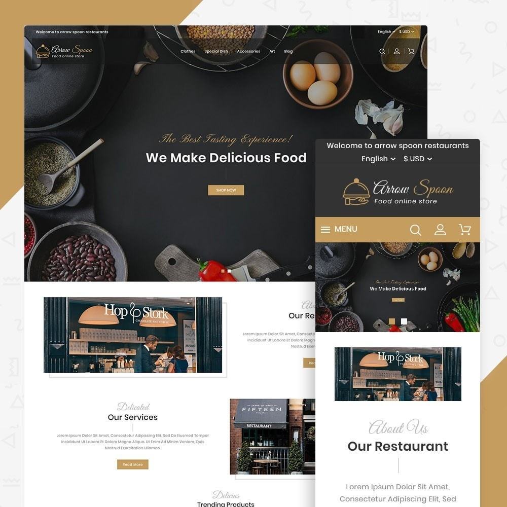 theme - Продовольствие и рестораны - Arrow Spoon Restaurants - 1