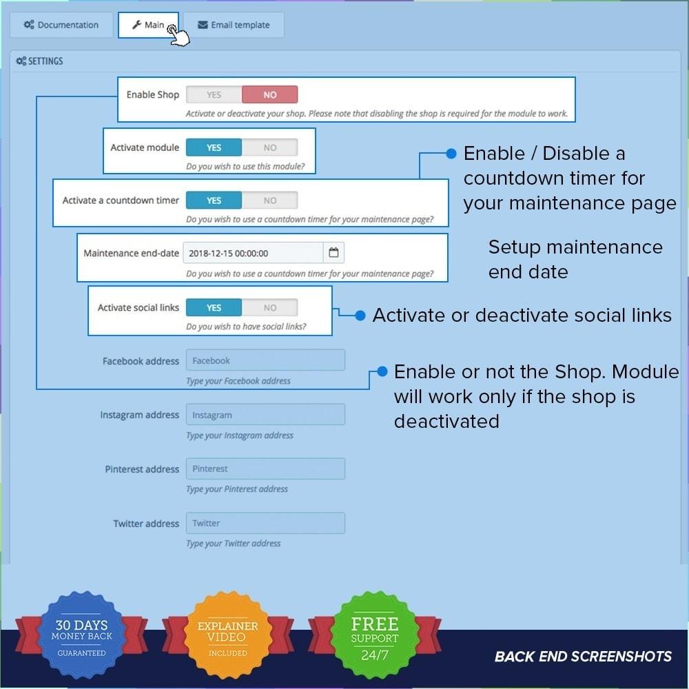module - Personnalisation de Page - Page de maintenance personnalisée - 2