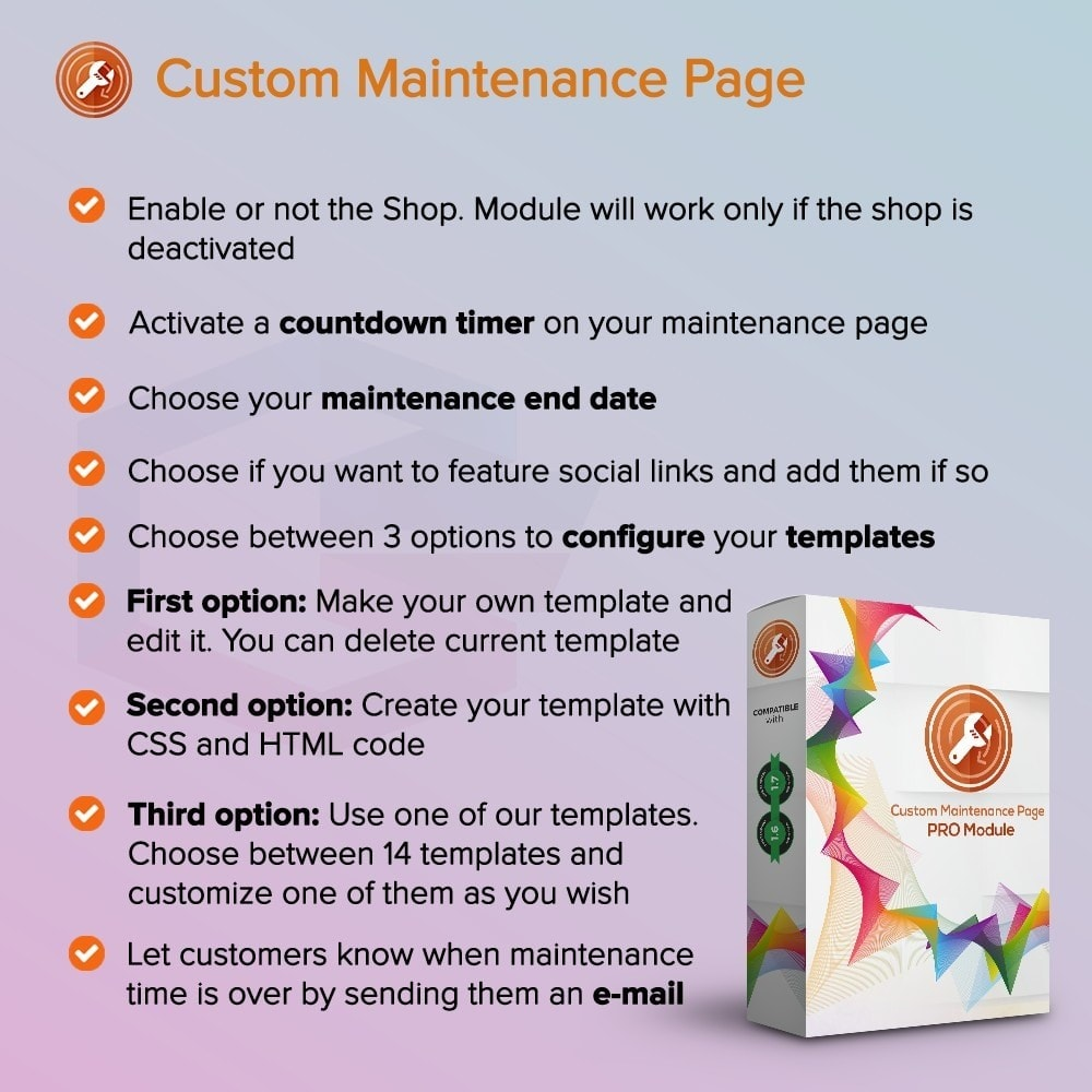 module - Page Customization - Custom Maintenance Page - 1