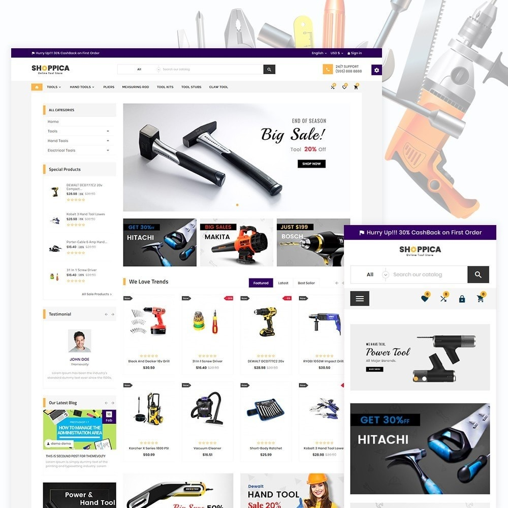 theme - Авто и Мото - Shoppica Tools Super Store v3 - 1