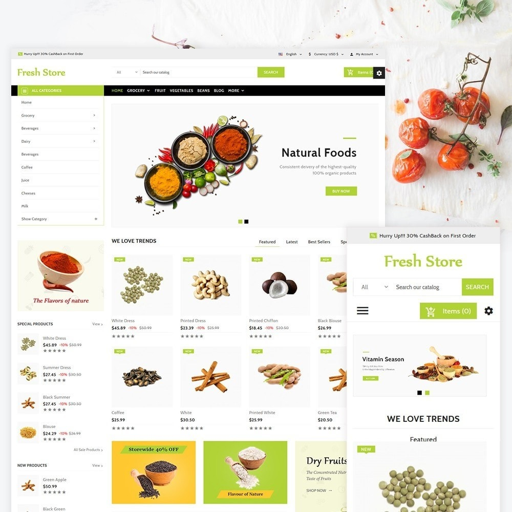 theme - Lebensmittel & Restaurants - Fresh Store The Grocery Shop - 1
