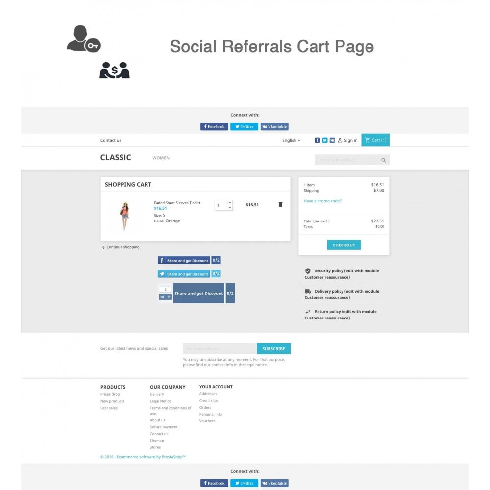 module - Social Rewards & Coupons - Social Referrals + Connects (3 in 1) - 2