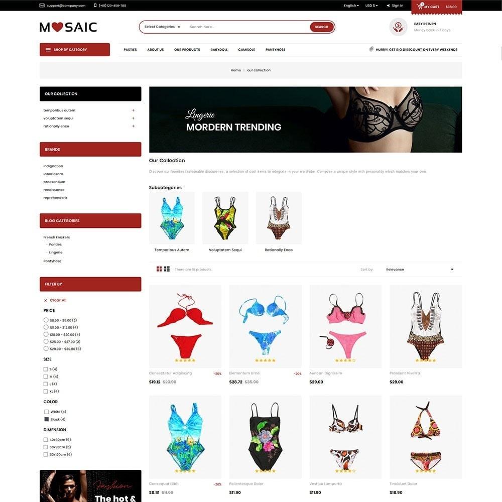 theme - Lingerie & Adultos - Mosaic - Ladies Wear Mega Shop - 4